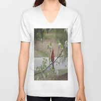 cardinal V-neck T-shirts featuring Cardinal  by Earth'sAnimalActivist23