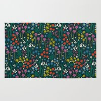 botanical Area & Throw Rugs featuring Botanical Garden  by Anna Deegan