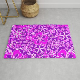 Hibiscus Pink and Purple Pattern Rug