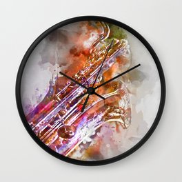 Sax watercolor Wall Clock