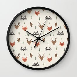 Minimalist Forest Animals Wall Clock