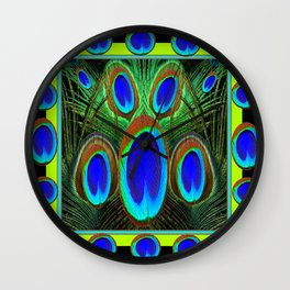 Decorative Black Pattern Blue Peacock Feather Eyes Art  Wall Clock