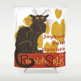 Joyeuse saint Valentin Le Chat Noir Parody Shower Curtain