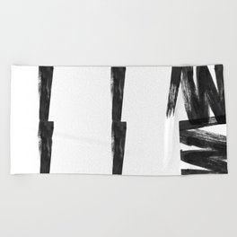 Black ink brush strokes abstract painting Beach Towel