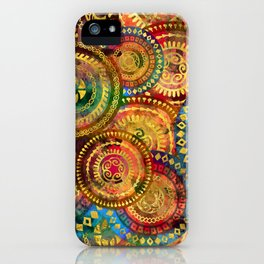Colorful Circular Tribal  pattern with gold iPhone Case