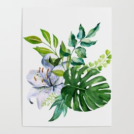 Flower and Leaves Poster
