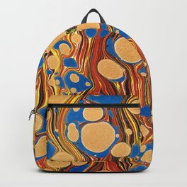 Vintage navy blue yellow orange abstract marble Backpack