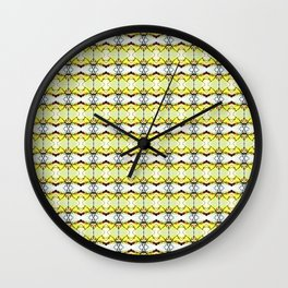 red Malus Radiant crab apple blossoms #7, yellow tint pattern Wall Clock