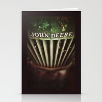 john green Stationery Cards featuring John Deere by Justin Alan Casey