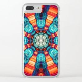 Blue And Orange Vortex Clear iPhone Case
