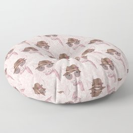 Cute pink baby pig funny design Floor Pillow