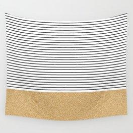 Minimal Gold Glitter Stripes Wall Tapestry