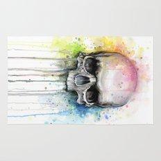Skull Rainbow Watercolor Painting Rug
