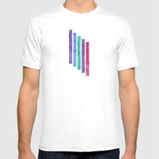 Peacock Stripes MEDIUM Mens Fitted Tee White