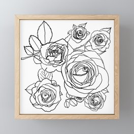 Feminine and Romantic Rose Pattern Line Work Illustration Framed Mini Art Print