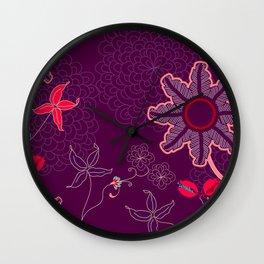 jungle delights deep velvet art print Wall Clock