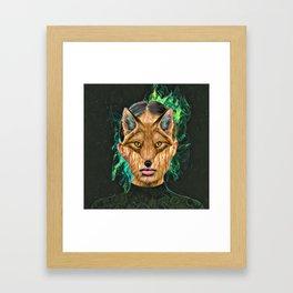 Green Fox Framed Art Print
