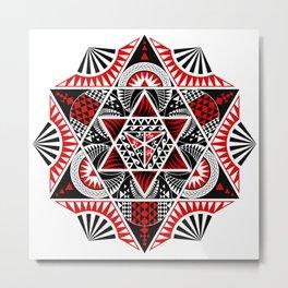 Mandala thai art mixed with polynesian design. In geometric shapes, hexagons, hexagram and circles. Metal Print