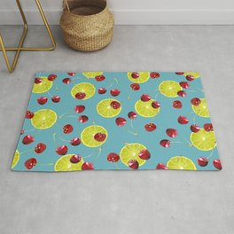 Cherries Lime pattern - turquoise Rug