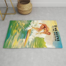 Paradise of the Pacific Surfer's Paradise Vintage Poster Rug