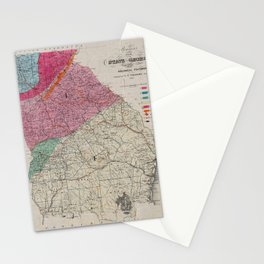 Vintage Georgia Geological Map (1849) Stationery Cards