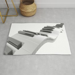 Keyboard of a piano waving on white background - 3D rendering Rug