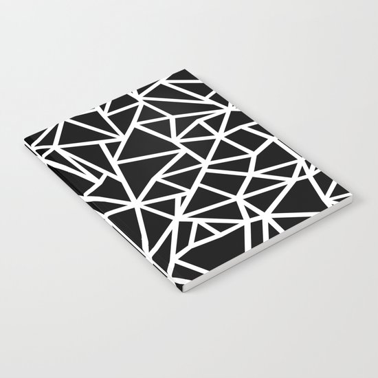 Abstract Outline Thick White on Black Notebook