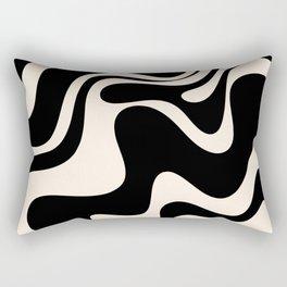Retro Liquid Swirl Abstract in Black and Almond Cream 2 Rectangular Pillow