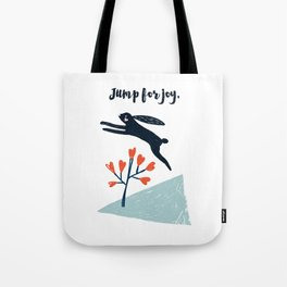Jump for Joy - Black Rabbit Tote Bag