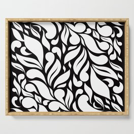 Abstract Leaves - Black and White Serving Tray