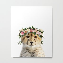 Baby Cheetah With Flower Crown, Baby Animals Art Print By Synplus Metal Print