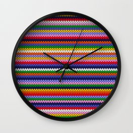 Knitted colorful lines Wall Clock
