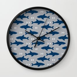 Sharks and chevrons minimal basic nursery baby home decor pattern nautical ocean Wall Clock