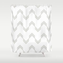 Simply Deconstructed Chevron Retro Gray on White Shower Curtain