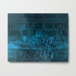 Mystery Air Objects Seen In The Sky Over LA Contemporary Art Portrait Metal Print