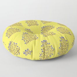 Indian Floral Motif Pattern - Blue and Yellow Floor Pillow