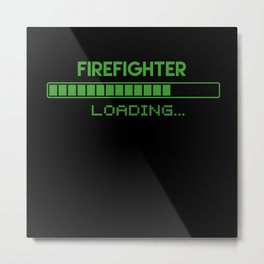 Firefighter Loading Metal Print