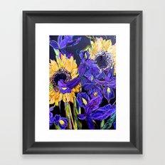 Sunflower & Iris Framed Art Print