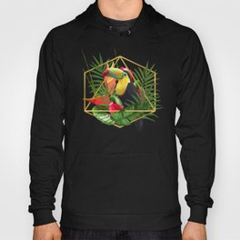Bold Golden Geometric Tropical Bouquet With Toucan Hoody