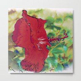 Red Hibiscus Flower Bloom Metal Print