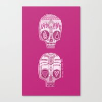 sugar skulls Canvas Prints featuring Sugar Skulls by Diana Dypvik