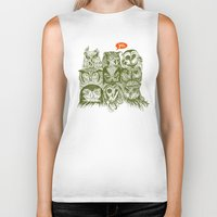 sale Biker Tanks featuring Wisdom to the Nines by Rachel Caldwell