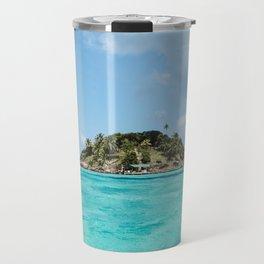 Turquoise water on paradise island of Crab Cay near Isla Providencia, Colombia, in the Caribbean Sea Travel Mug