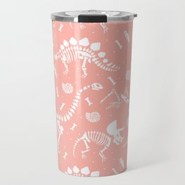 Dinosaur Fossils in Pink Travel Mug