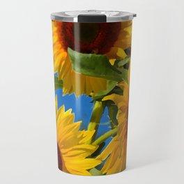 Three bright sunflowers Travel Mug