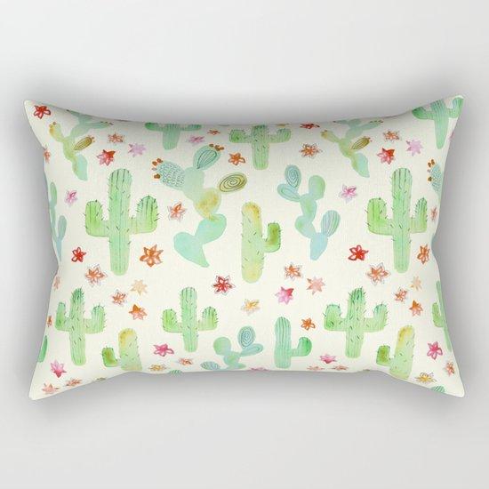 Watercolor Cacti Rectangular Pillow