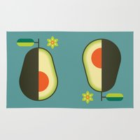 avocado Area & Throw Rugs featuring Fruit: Avocado by Christopher Dina