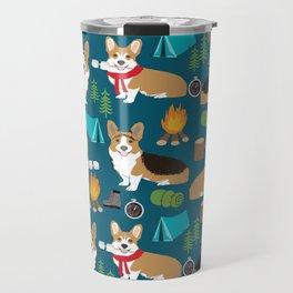 Corgi camping marshmallow roasting corgis outdoors nature dog lovers Travel Mug