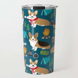 Corgi camping marshmallow roasting corgis outdoors nature dog lovers Travel Mug