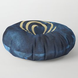 Infinity Navy Blue And Gold Abstract Modern Art Painting Floor Pillow